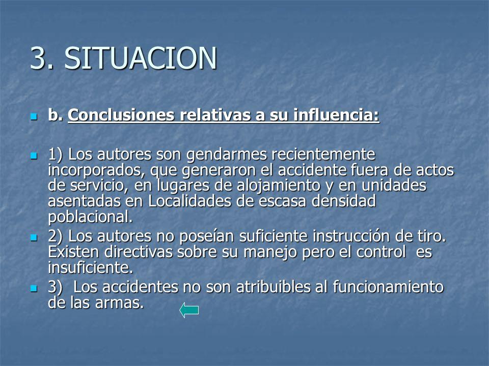 3. SITUACION b. Conclusiones relativas a su influencia: