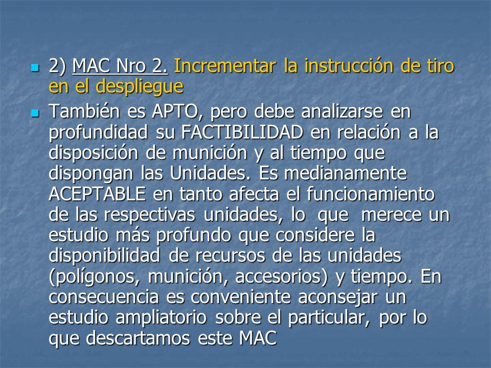 2) MAC Nro 2. Incrementar la instrucción de tiro en el despliegue