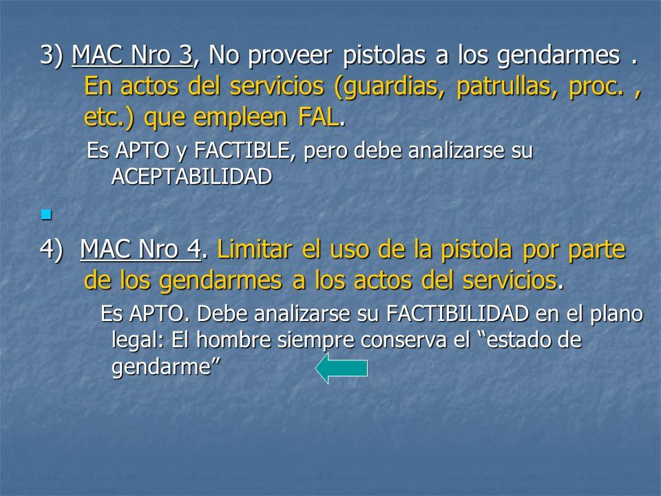 3) MAC Nro 3, No proveer pistolas a los gendarmes