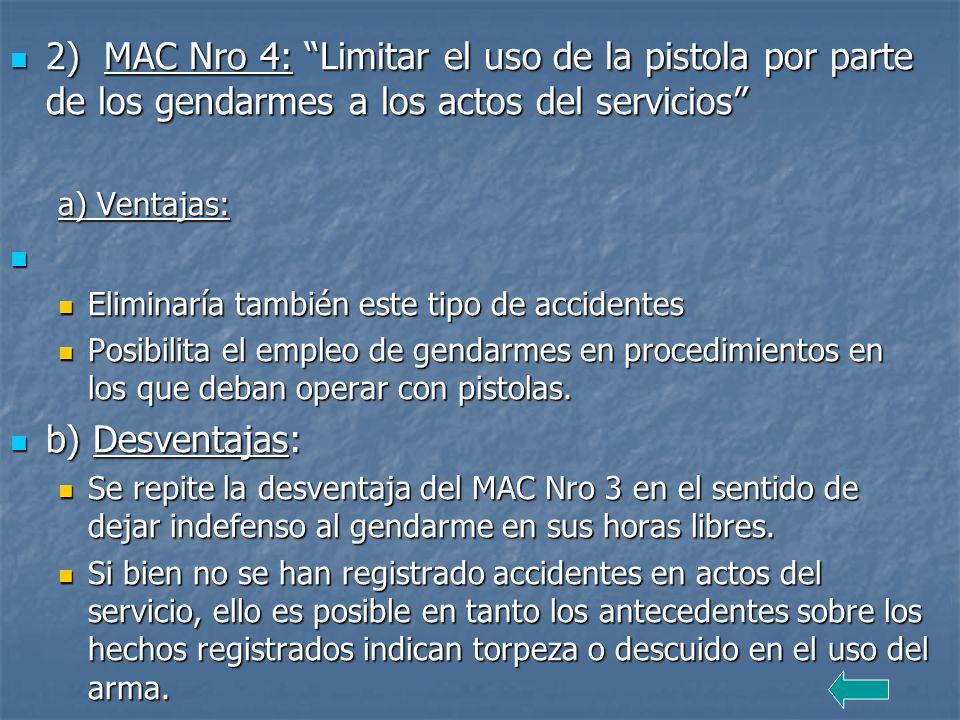 2) MAC Nro 4: Limitar el uso de la pistola por parte de los gendarmes a los actos del servicios