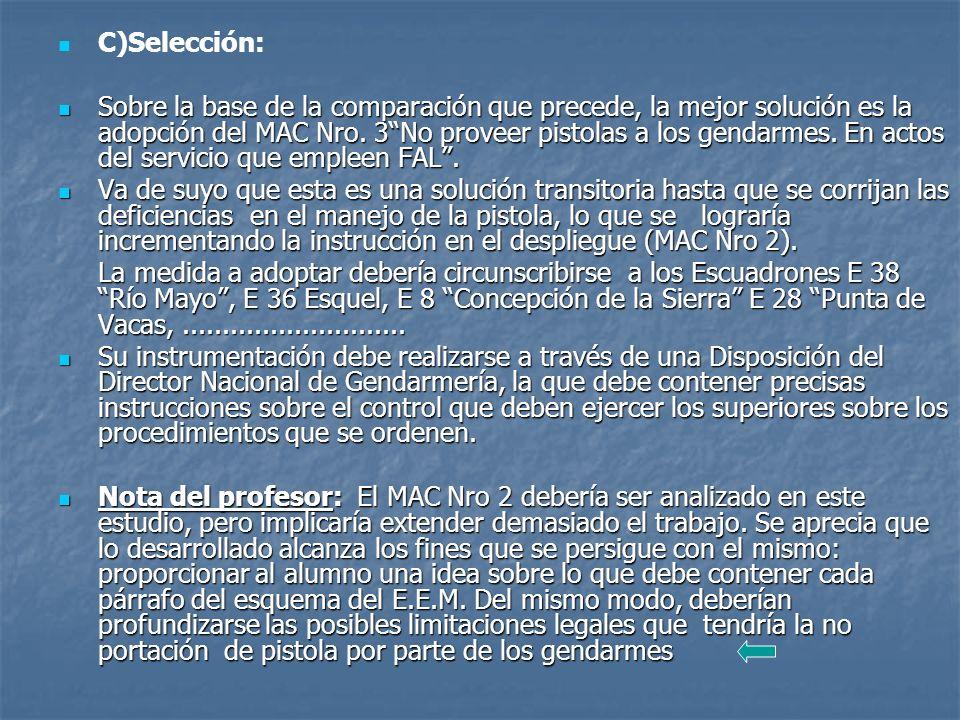 C)Selección: