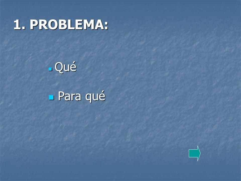 1. PROBLEMA: Qué Para qué