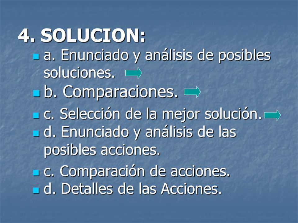 4. SOLUCION: b. Comparaciones.