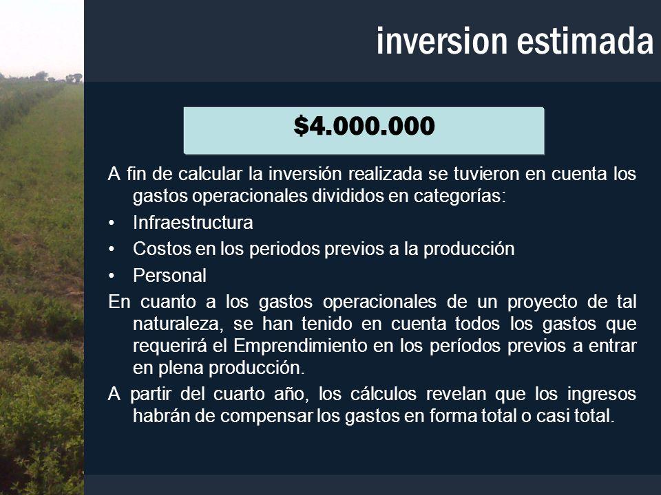 inversion estimada $4.000.000. A fin de calcular la inversión realizada se tuvieron en cuenta los gastos operacionales divididos en categorías: