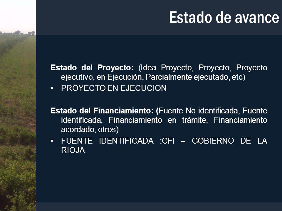 Estado de avance Estado del Proyecto: (Idea Proyecto, Proyecto, Proyecto ejecutivo, en Ejecución, Parcialmente ejecutado, etc)