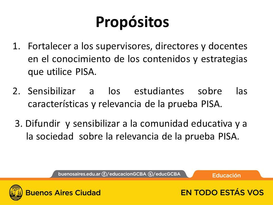Propósitos Fortalecer a los supervisores, directores y docentes en el conocimiento de los contenidos y estrategias que utilice PISA.
