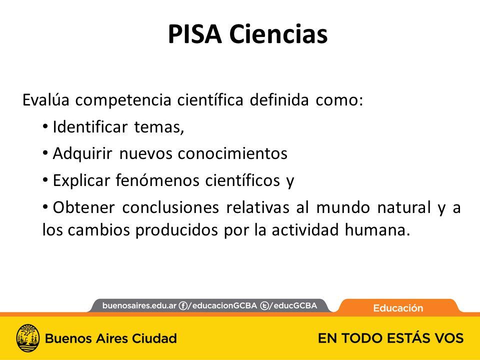 PISA Ciencias Evalúa competencia científica definida como: