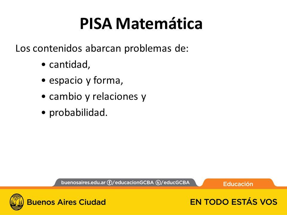 PISA Matemática Los contenidos abarcan problemas de: cantidad,