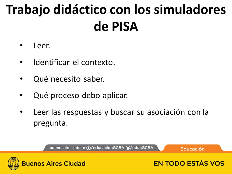 Trabajo didáctico con los simuladores de PISA