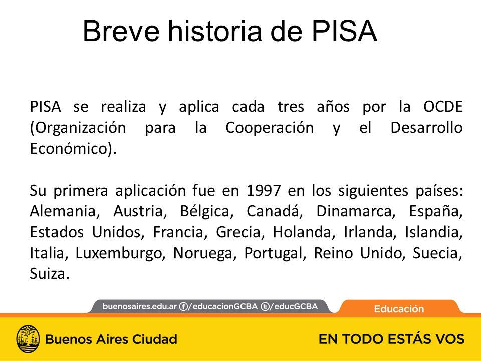 Breve historia de PISA PISA se realiza y aplica cada tres años por la OCDE (Organización para la Cooperación y el Desarrollo Económico).