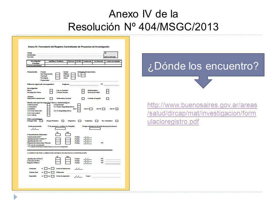 Anexo IV de la Resolución Nº 404/MSGC/2013 ¿Dónde los encuentro