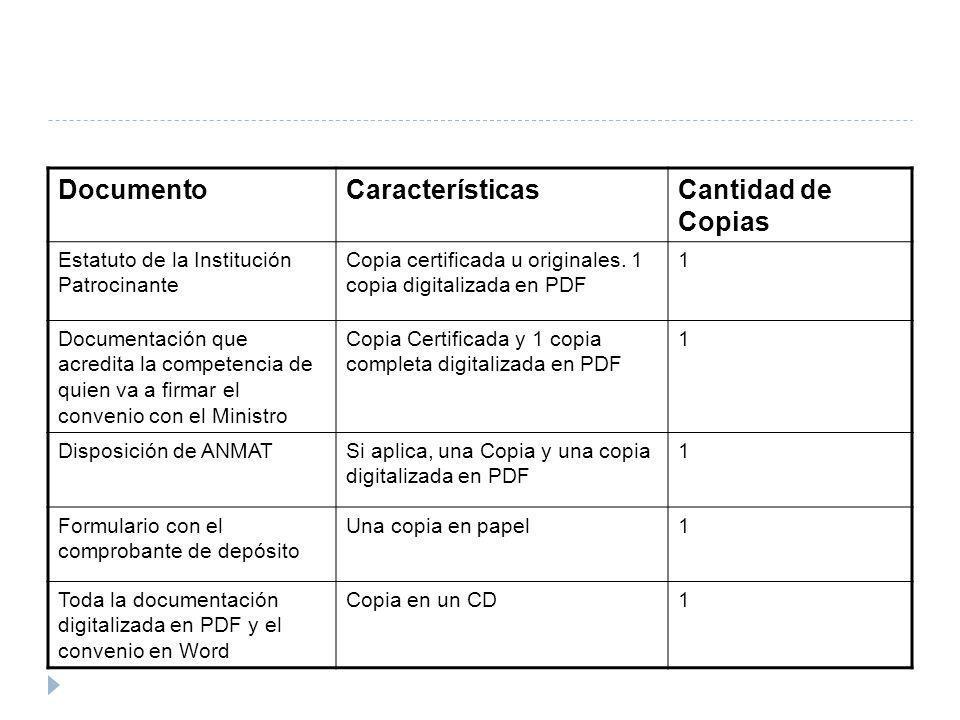 Documento Características Cantidad de Copias
