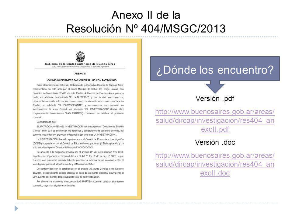 Anexo II de la Resolución Nº 404/MSGC/2013