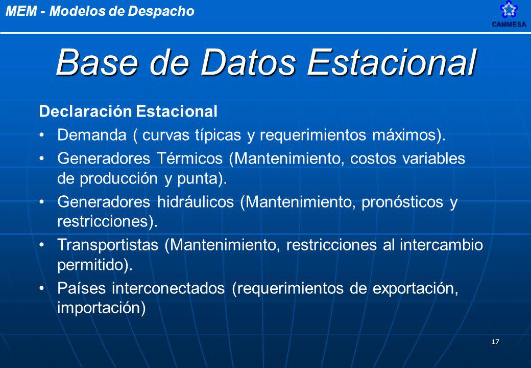 Base de Datos Estacional
