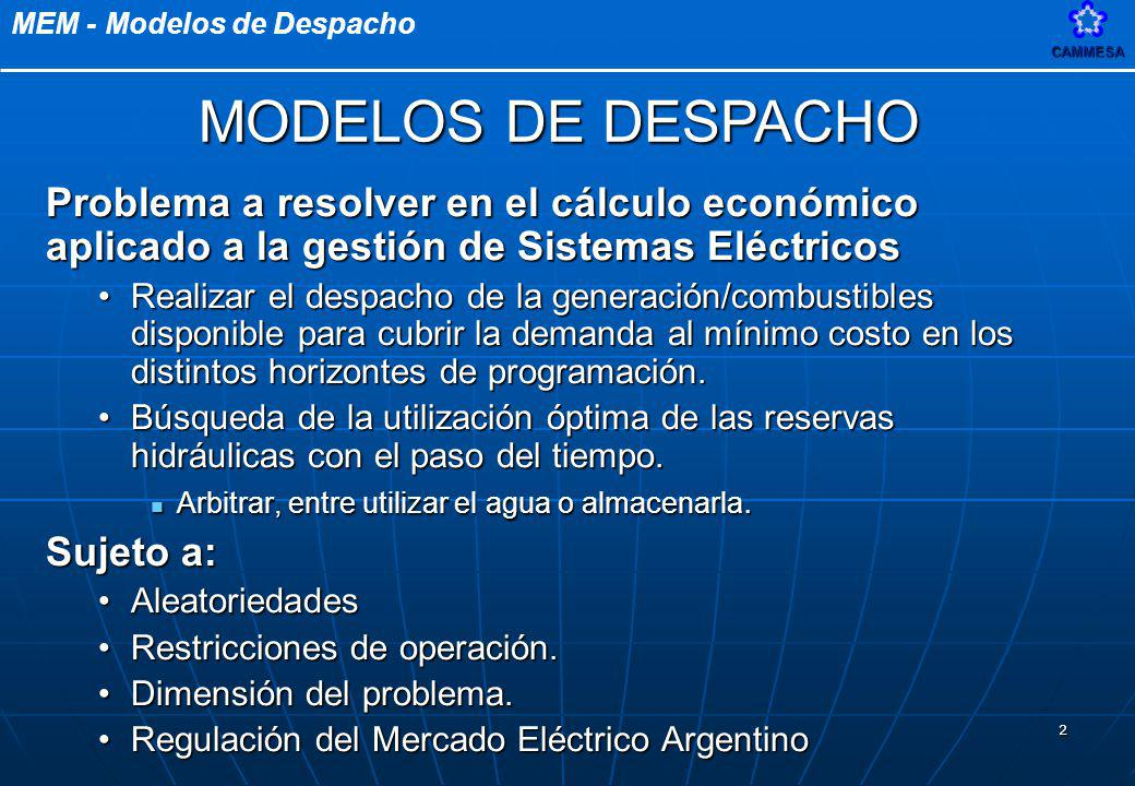 MODELOS DE DESPACHO Problema a resolver en el cálculo económico aplicado a la gestión de Sistemas Eléctricos.