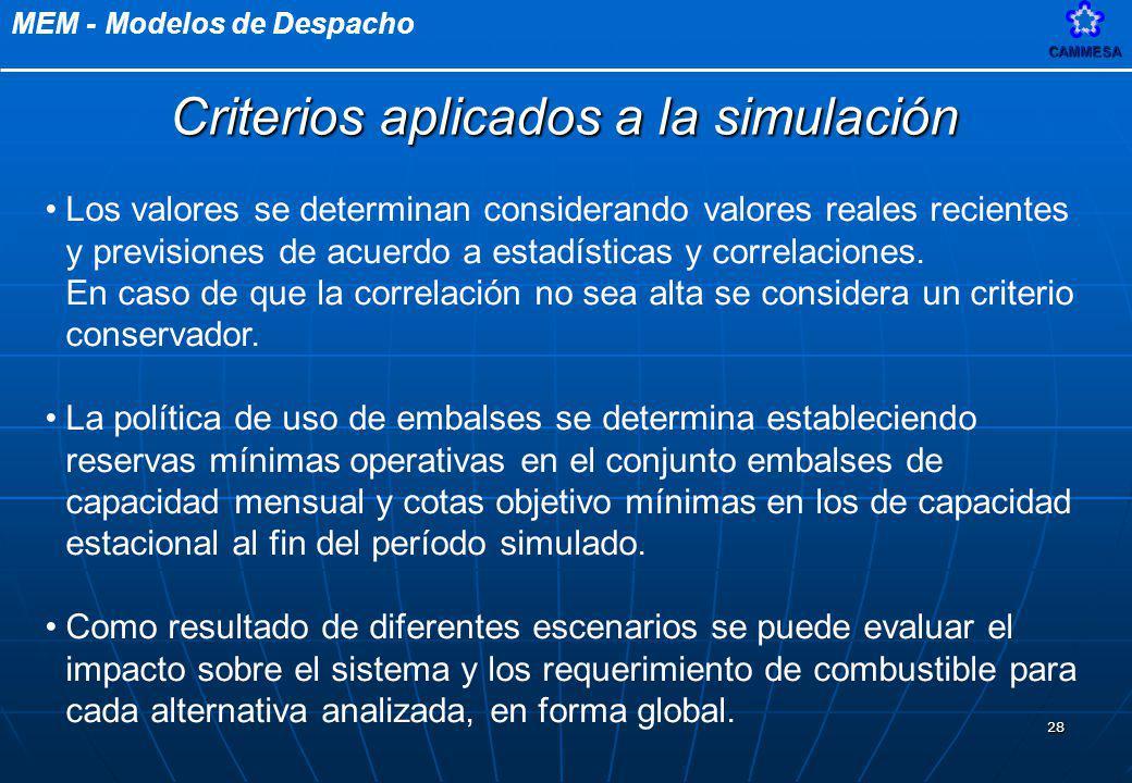 Criterios aplicados a la simulación