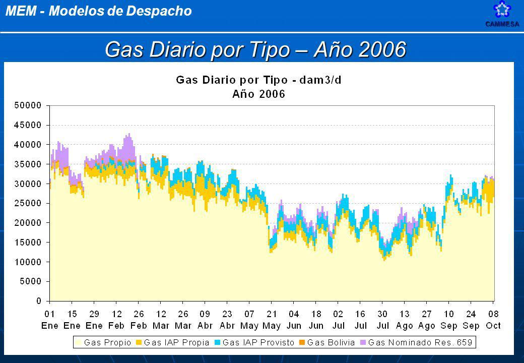 Gas Diario por Tipo – Año 2006