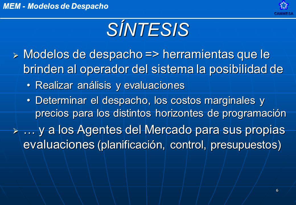 SÍNTESIS Modelos de despacho => herramientas que le brinden al operador del sistema la posibilidad de.