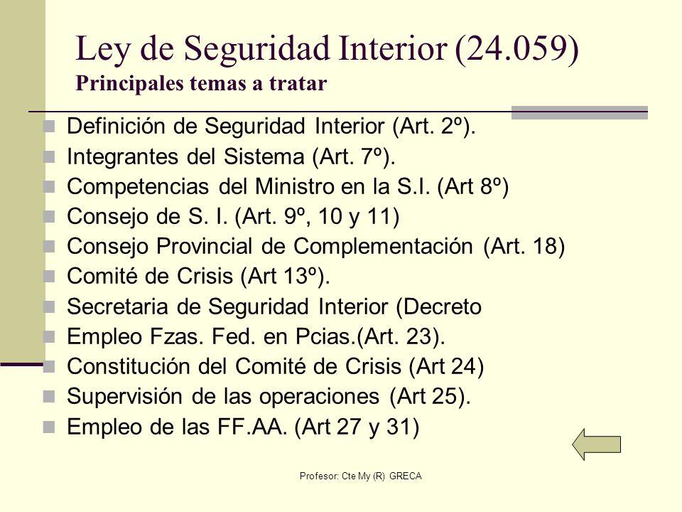 Ley de Seguridad Interior (24.059) Principales temas a tratar