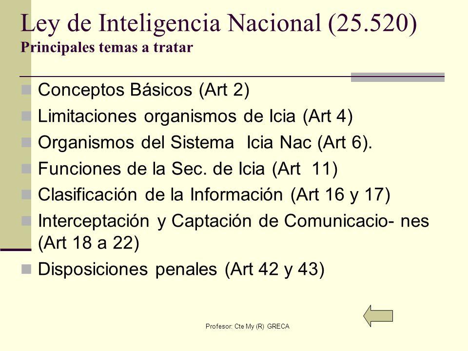 Ley de Inteligencia Nacional (25.520) Principales temas a tratar