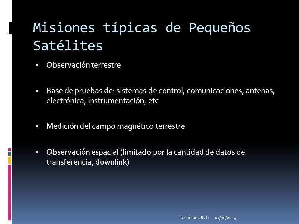 Misiones típicas de Pequeños Satélites