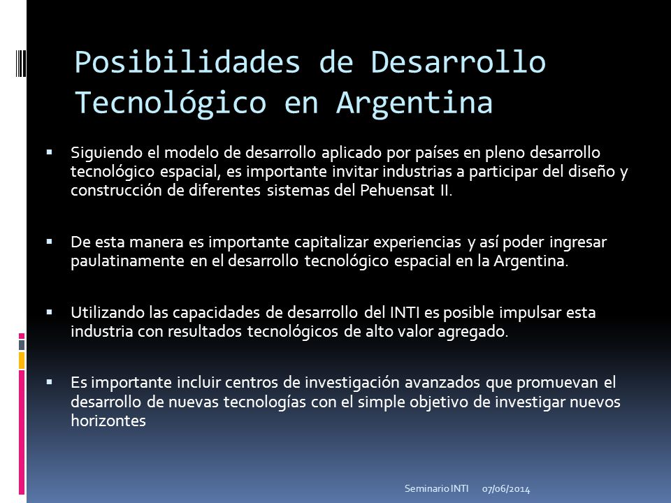 Posibilidades de Desarrollo Tecnológico en Argentina