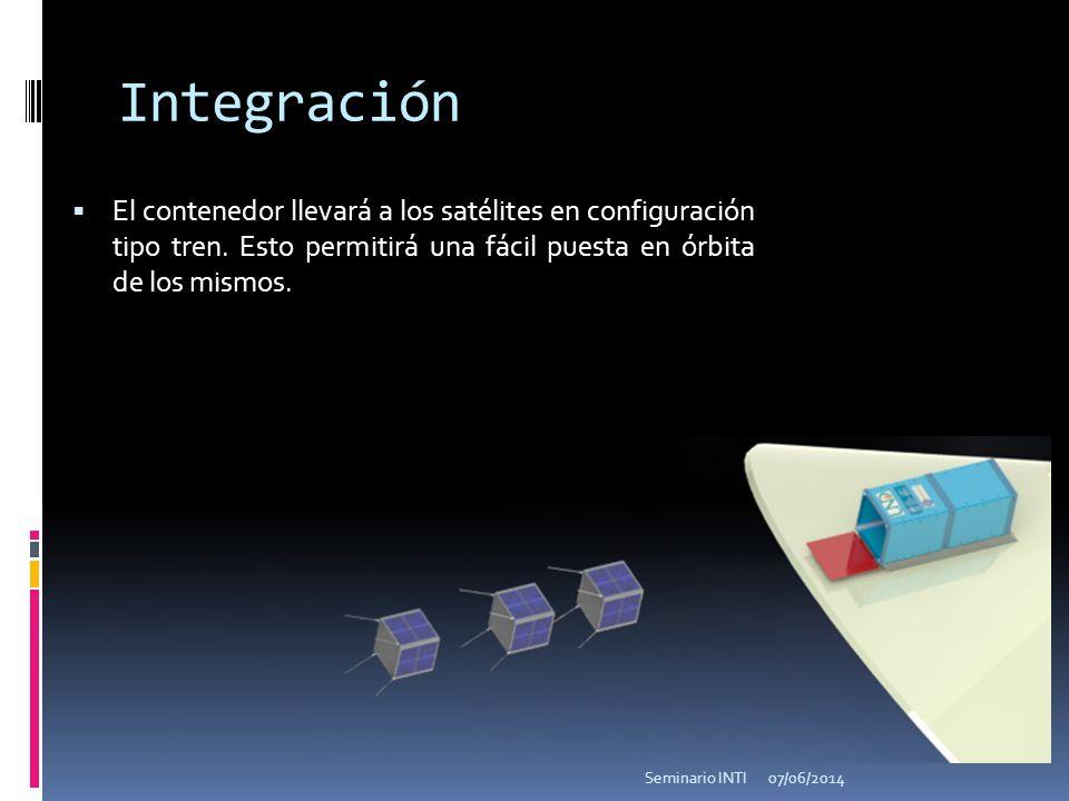 Integración El contenedor llevará a los satélites en configuración tipo tren. Esto permitirá una fácil puesta en órbita de los mismos.
