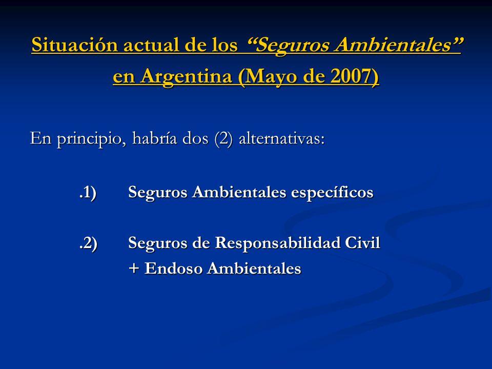Situación actual de los Seguros Ambientales en Argentina (Mayo de 2007)