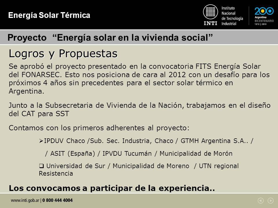 Logros y Propuestas Proyecto Energía solar en la vivienda social