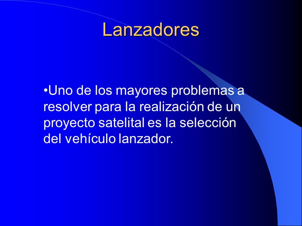 Lanzadores Uno de los mayores problemas a resolver para la realización de un proyecto satelital es la selección del vehículo lanzador.