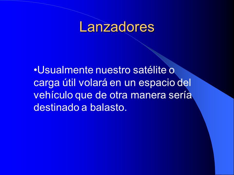 Lanzadores Usualmente nuestro satélite o carga útil volará en un espacio del vehículo que de otra manera sería destinado a balasto.