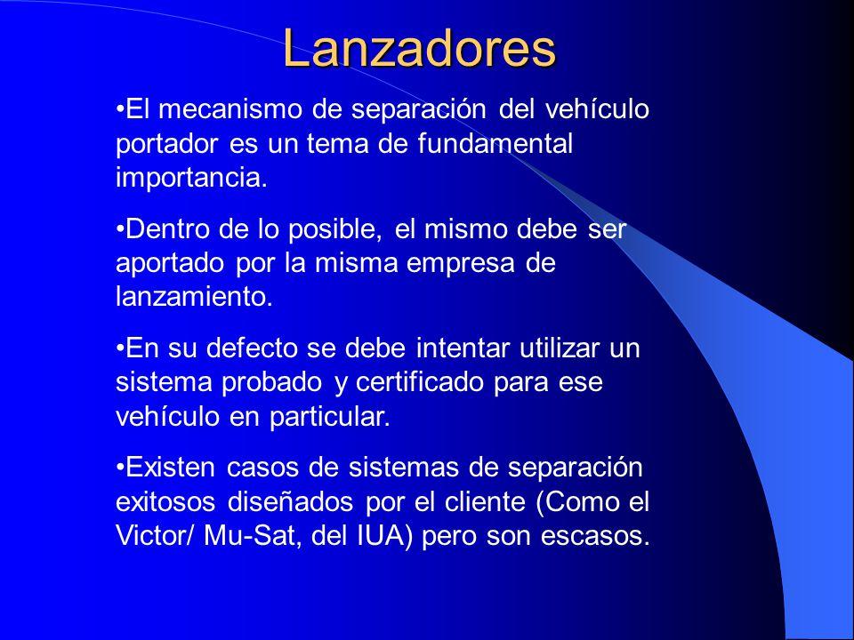 Lanzadores El mecanismo de separación del vehículo portador es un tema de fundamental importancia.