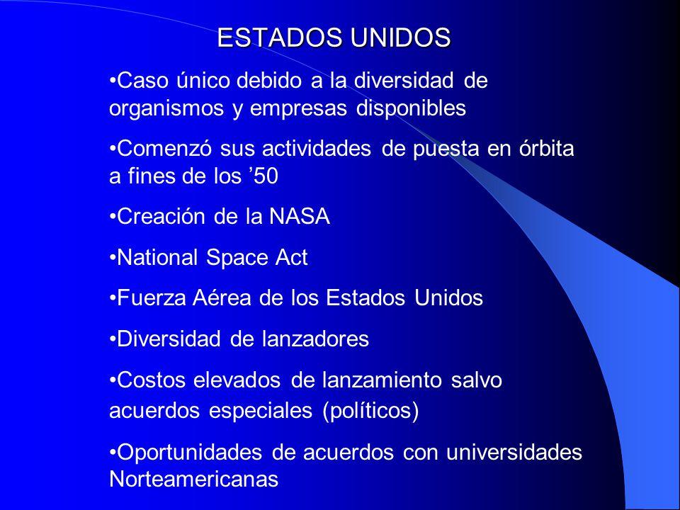 ESTADOS UNIDOS Caso único debido a la diversidad de organismos y empresas disponibles.
