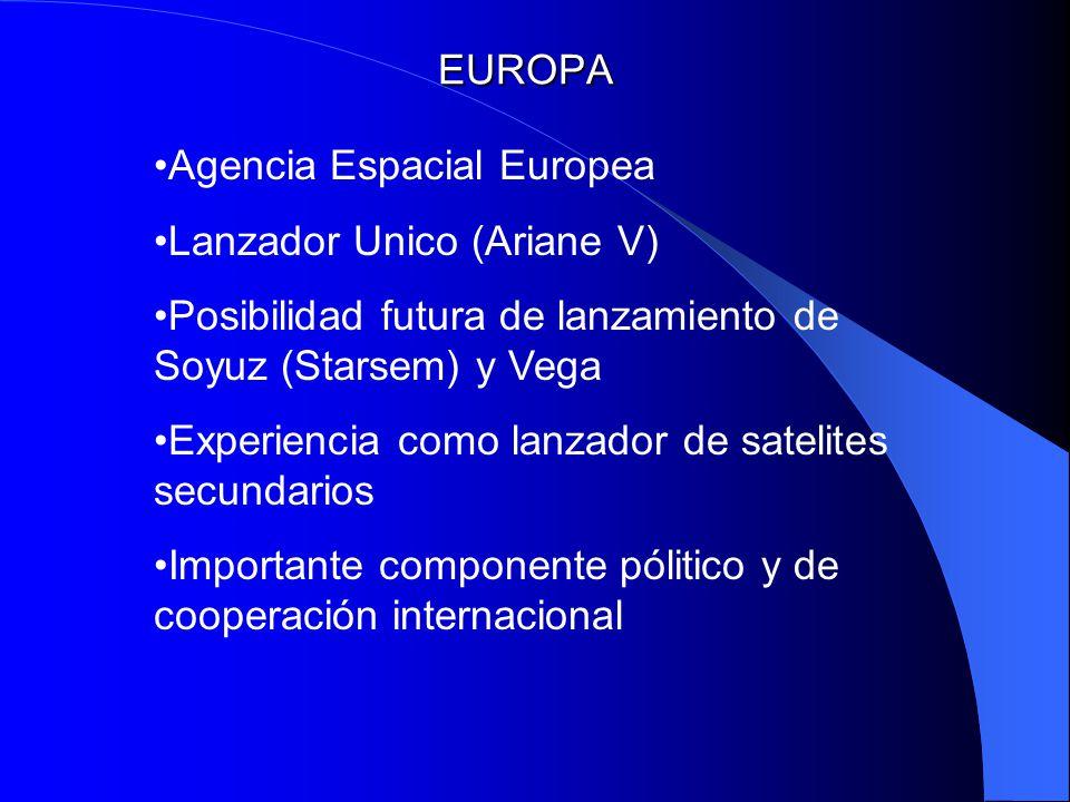 EUROPA Agencia Espacial Europea. Lanzador Unico (Ariane V) Posibilidad futura de lanzamiento de Soyuz (Starsem) y Vega.