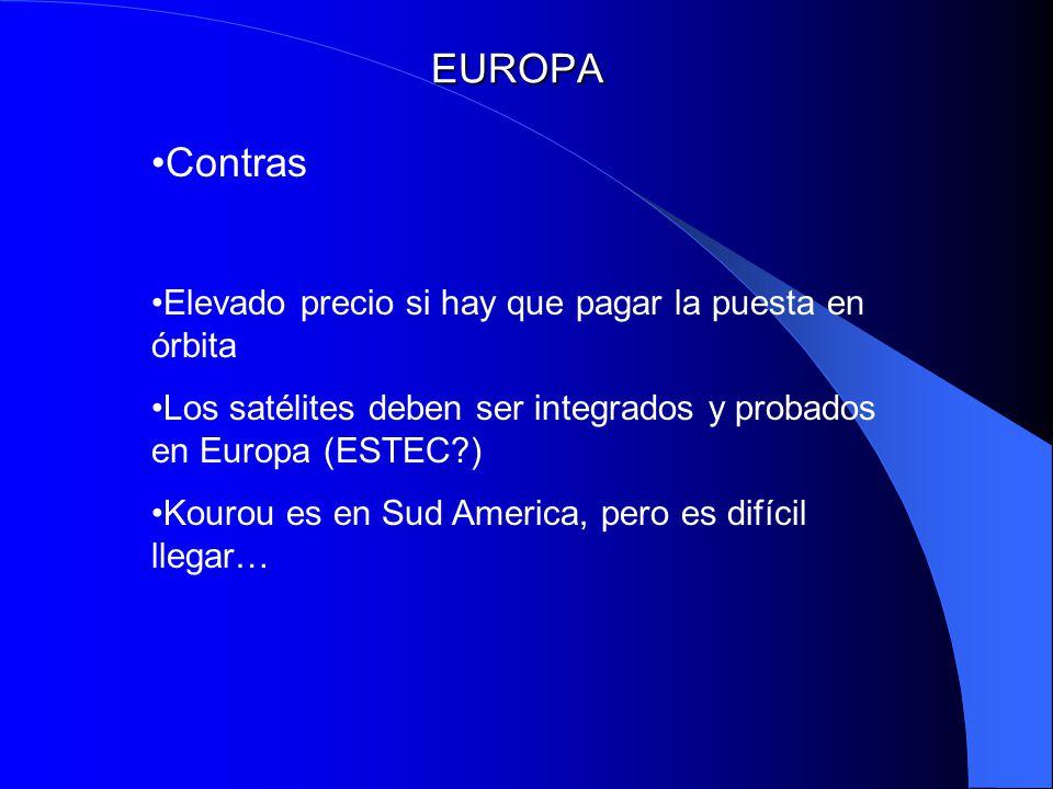 EUROPA Contras Elevado precio si hay que pagar la puesta en órbita
