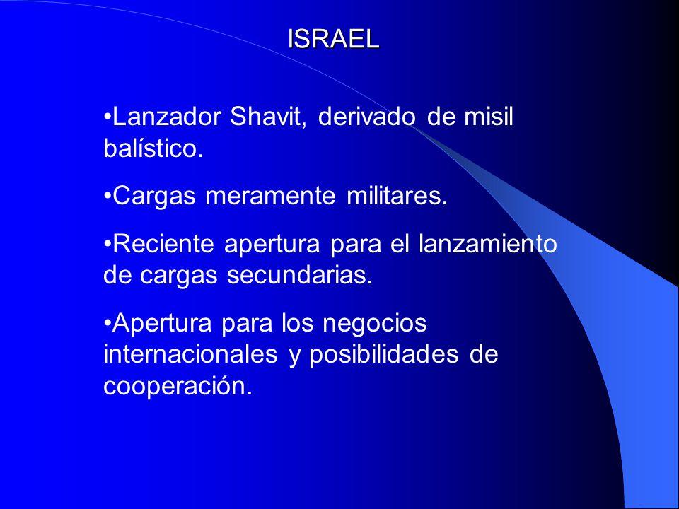 ISRAEL Lanzador Shavit, derivado de misil balístico. Cargas meramente militares. Reciente apertura para el lanzamiento de cargas secundarias.