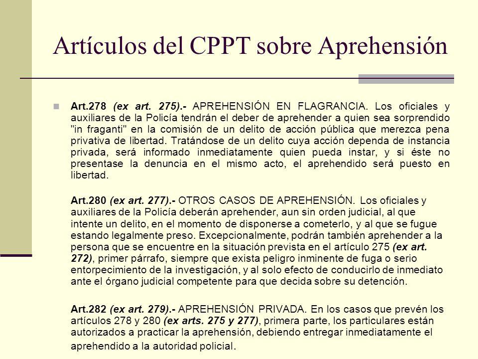 Artículos del CPPT sobre Aprehensión