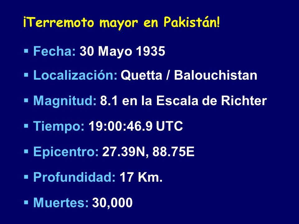 ¡Terremoto mayor en Pakistán! Fecha: 30 Mayo 1935