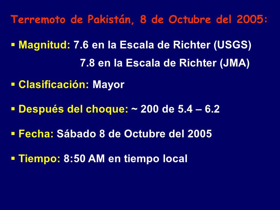 Terremoto de Pakistán, 8 de Octubre del 2005: