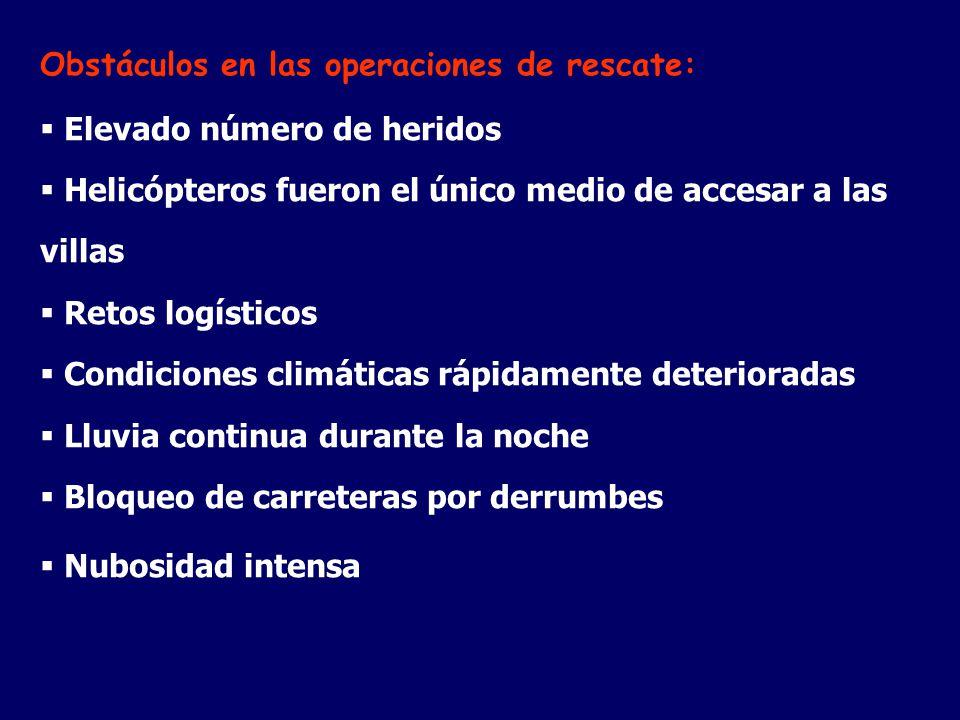 Obstáculos en las operaciones de rescate: Elevado número de heridos