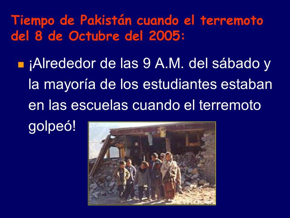 Tiempo de Pakistán cuando el terremoto del 8 de Octubre del 2005: