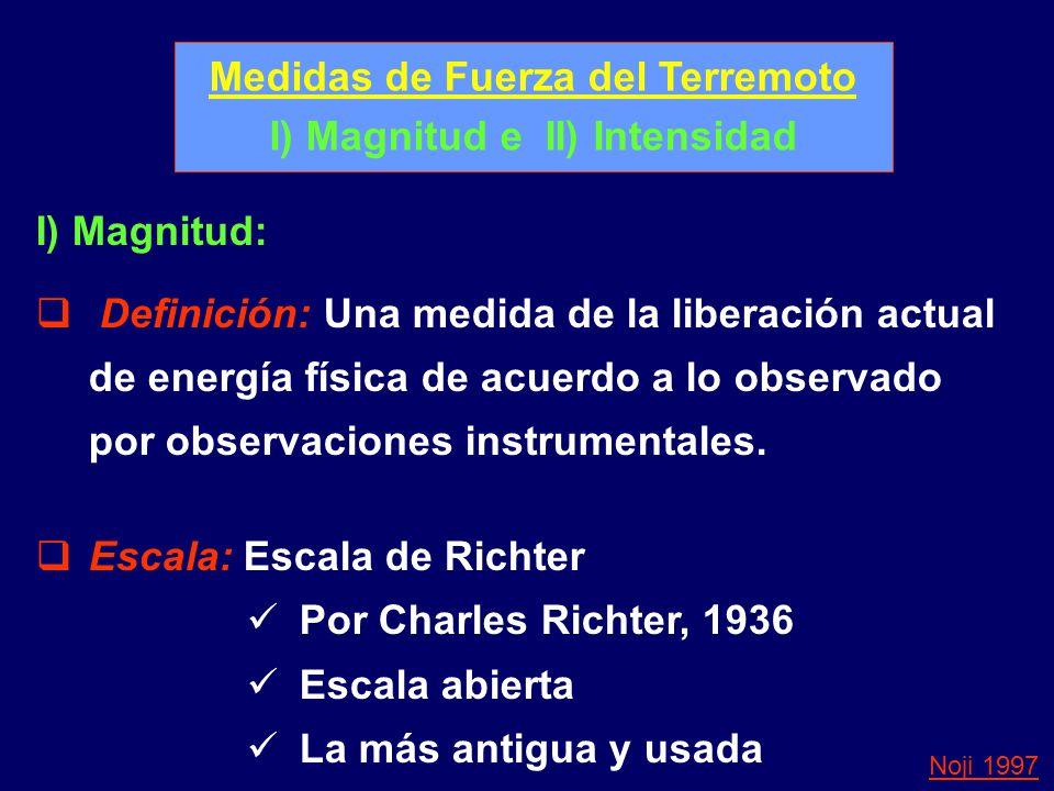 Medidas de Fuerza del Terremoto I) Magnitud e II) Intensidad