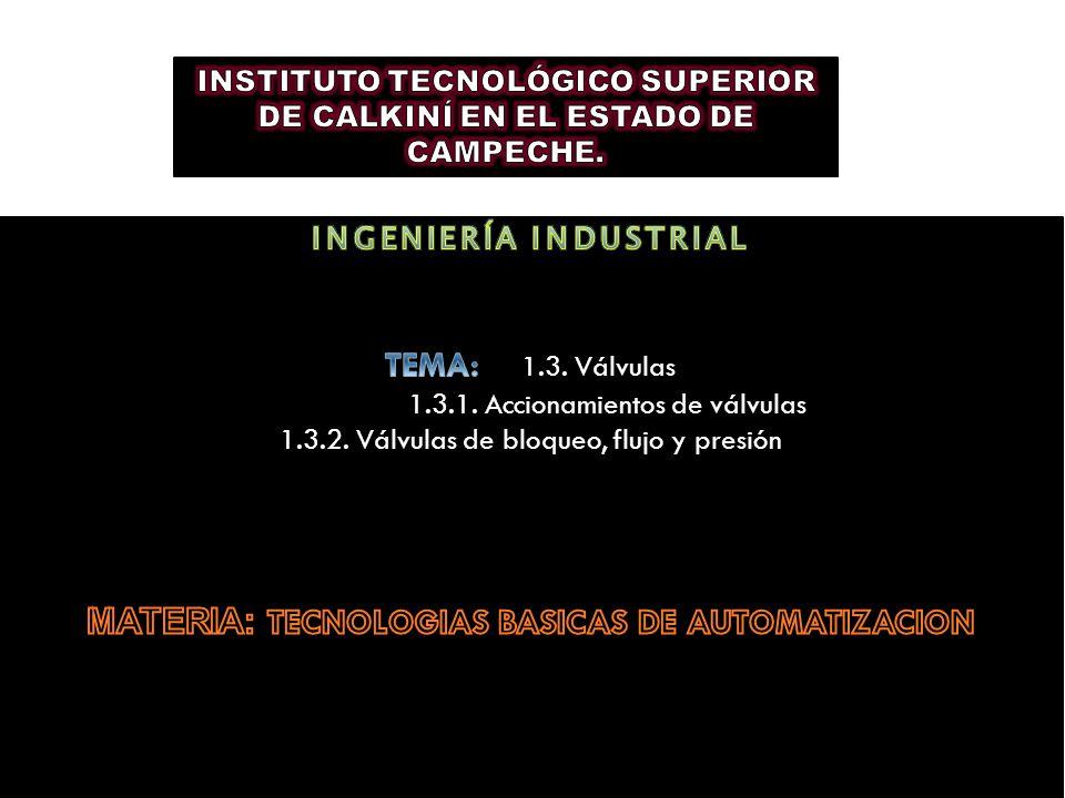 INGENIERÍA INDUSTRIAL MATERIA: TECNOLOGIAS BASICAS DE AUTOMATIZACION