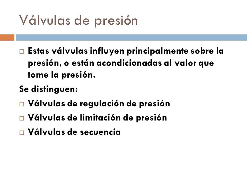 Válvulas de presión Estas válvulas influyen principalmente sobre la presión, o están acondicionadas al valor que tome la presión.