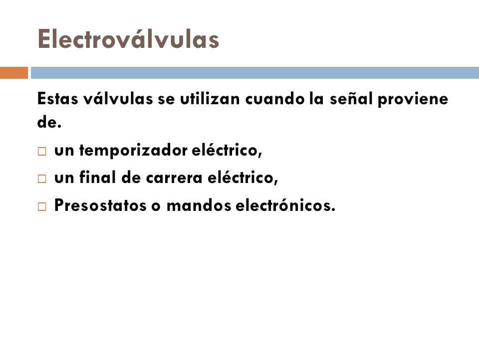 Electroválvulas Estas válvulas se utilizan cuando la señal proviene de. un temporizador eléctrico,