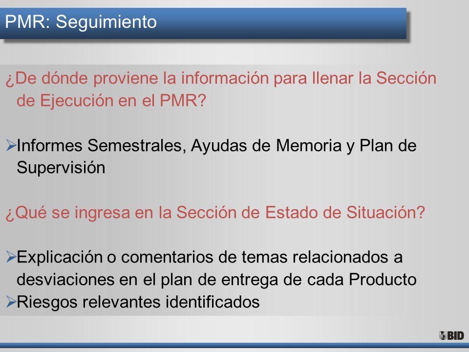 PMR: Seguimiento ¿De dónde proviene la información para llenar la Sección de Ejecución en el PMR
