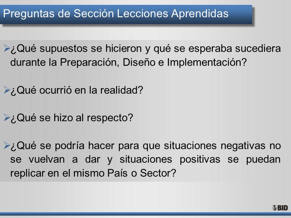 Preguntas de Sección Lecciones Aprendidas