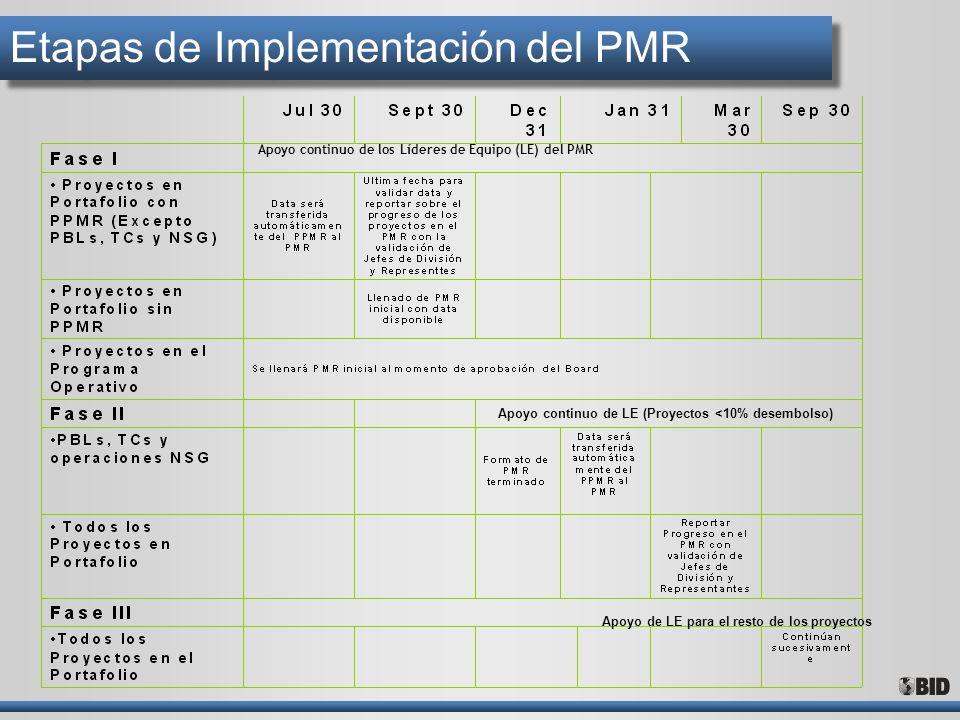 Etapas de Implementación del PMR