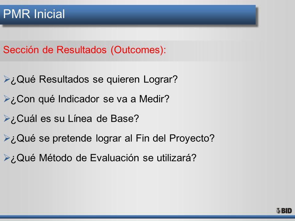 PMR Inicial Sección de Resultados (Outcomes):
