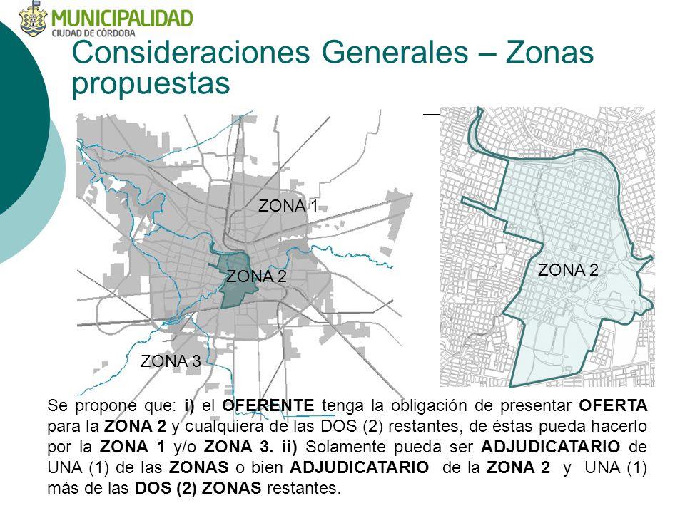 Consideraciones Generales – Zonas propuestas